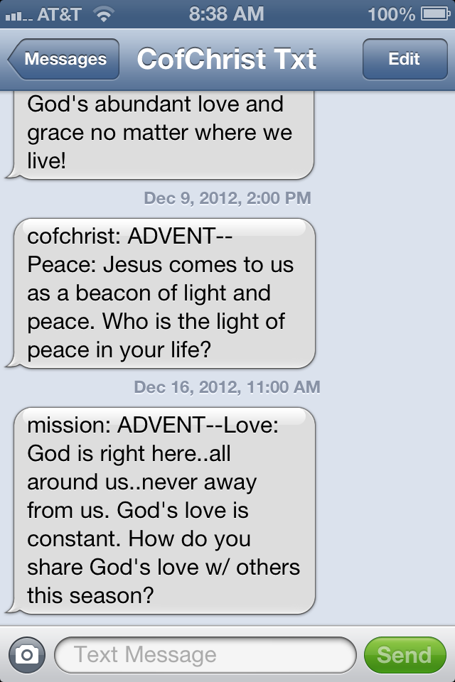 CofChrist Text Messages | Young Adult Ministries