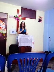 peru- melissa preaching in Filidelfia