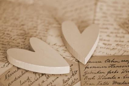heart on old handwritten letter